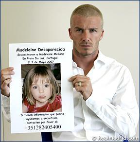 David Beckham beteiligt sich an der Suche von Maddie McCann